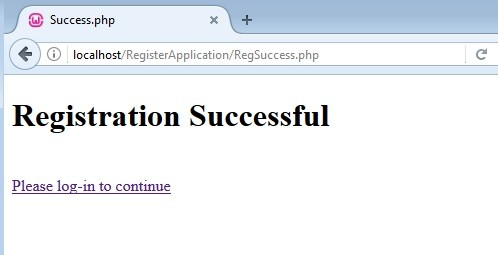 Registration form in PHP using MySQL