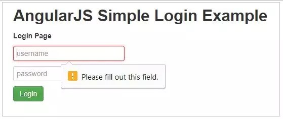 Simple Login Example in AngularJS with form validations