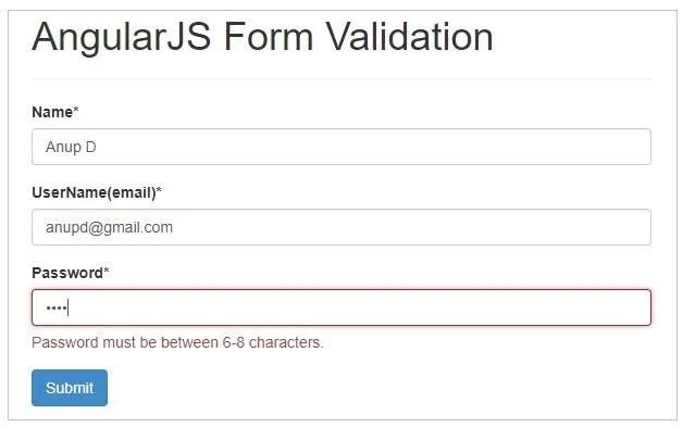 Form validation in AngularJS - Password Validation