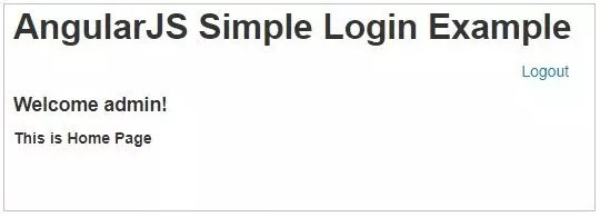 Home page code in login form using AngularJS