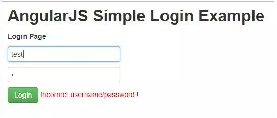 Authentication form in angulasJS with error message