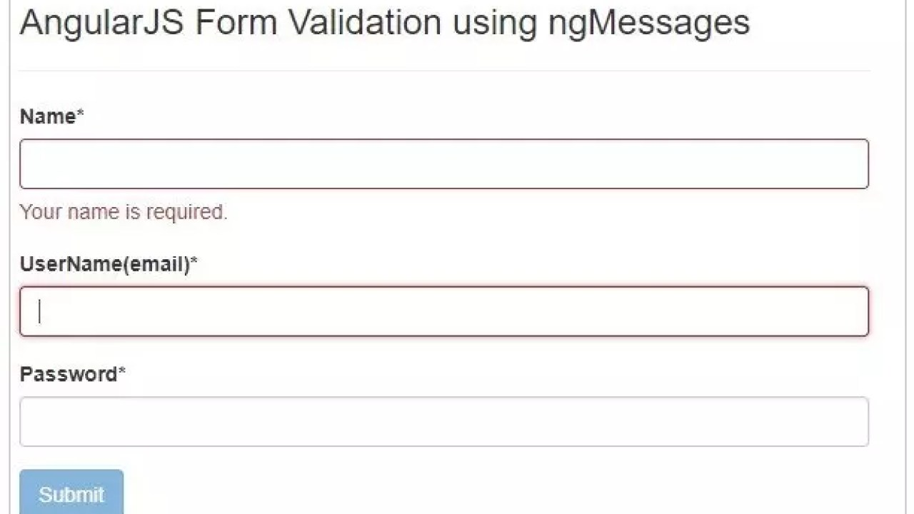 Form Validation in AngularJS with ngMessages - Krazytech