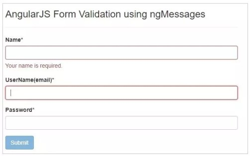 Name Validation in the form using ngMessages