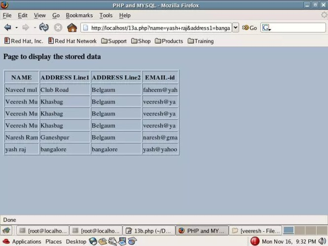PHP code to display MySQL data in an HTML table