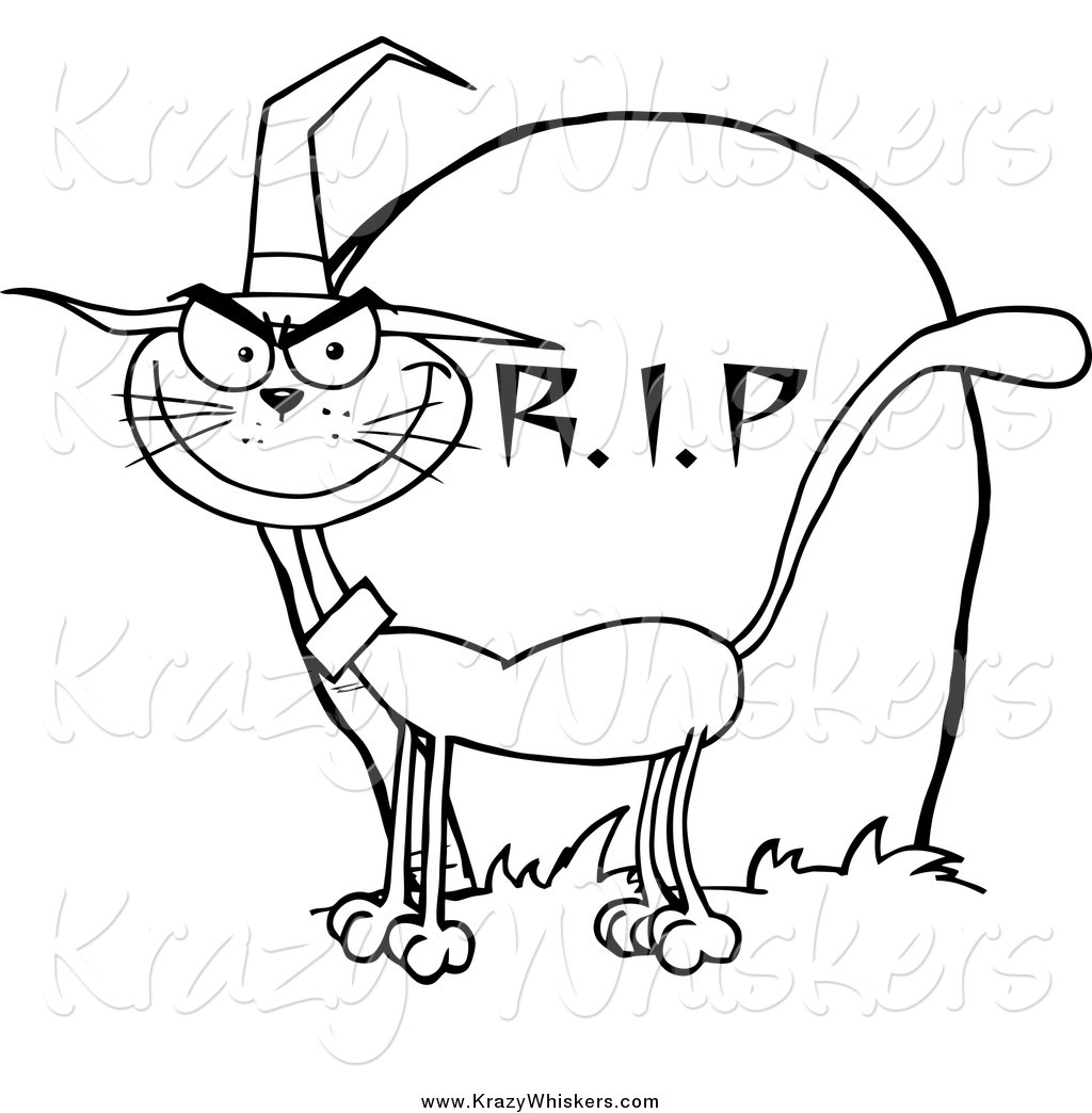 Critter Clipart Of A Lineart Halloween Witch Cat By A