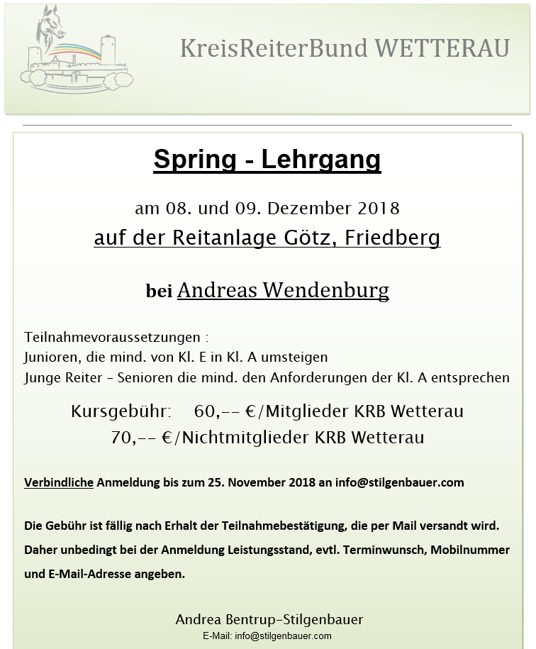 Springlehrgang mit Andreas Wendenburg