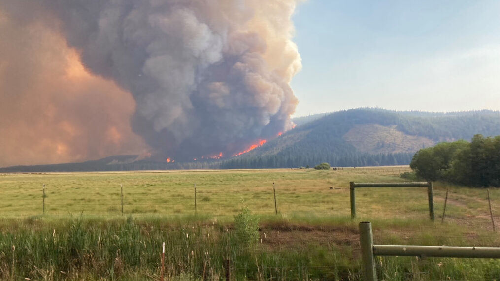Weds, June 30 photo of the Tennant Fire from the U.S. Forest Service /KRCR<p>{/p}