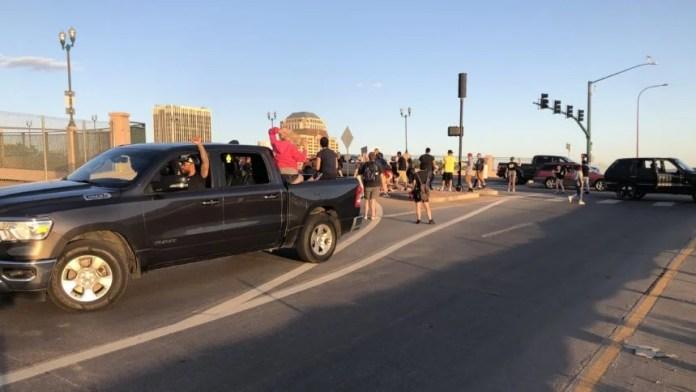 bijou protesters blocking ramp Cropped