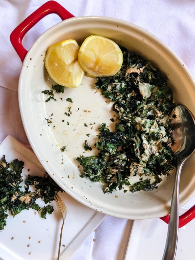 Crispy Kale with Tahini Drizzle