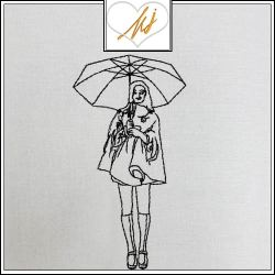 Redwork Girl with Umbrella