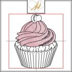 Redwork with a Twist Cupcake