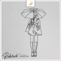 Redwork Girl with Umbrella