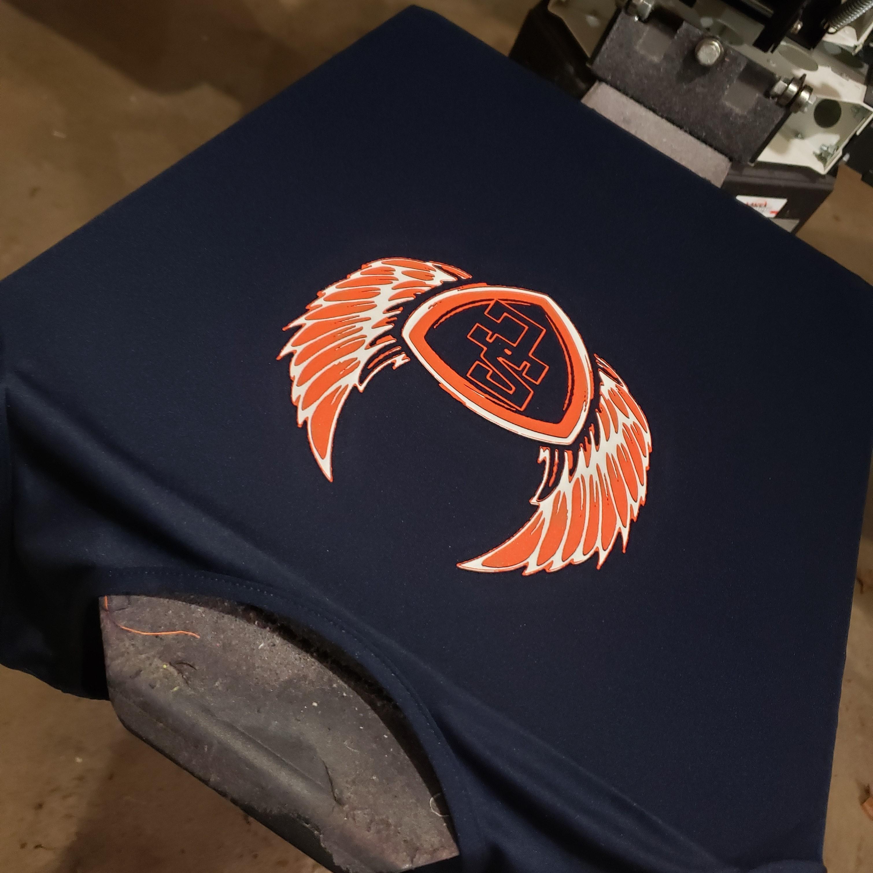 T-Shirt on screen printing machine