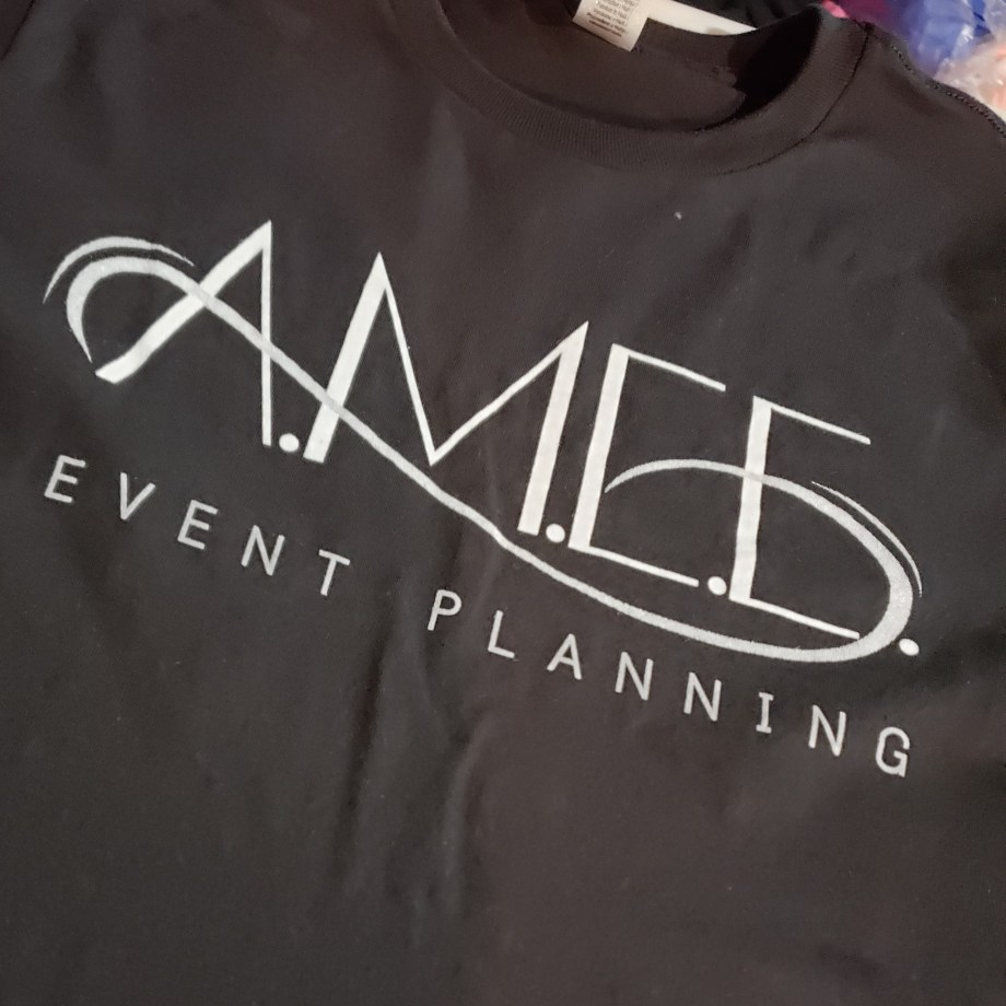 screen print design on black t-shirt for small business owner