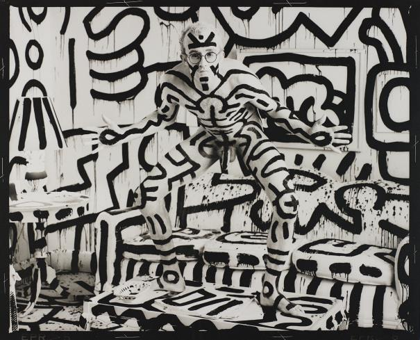 Artist Keith Haring, camouflaged. Photo by Annie Leibovitz.