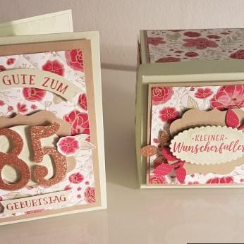 Karte und Explosinsbox zum 85. Geburtstag, gestaltet mit Stampin'Up!-Produkten