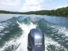 Riding the ski boat on Lake Ouachita