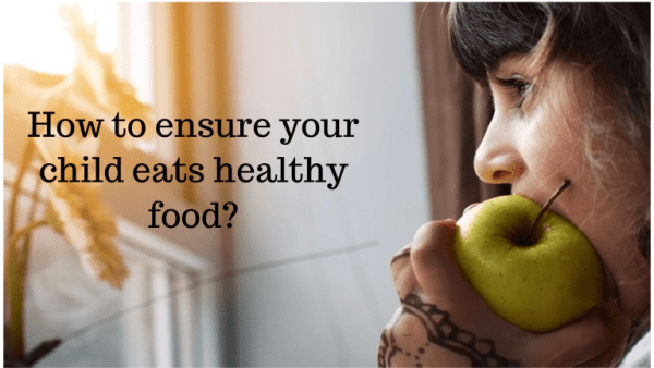 Child eats healthy meals
