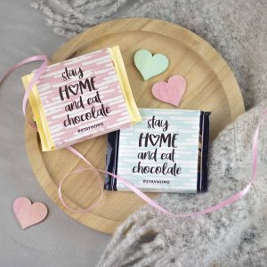 Printable stay home Schokoladenbanderole