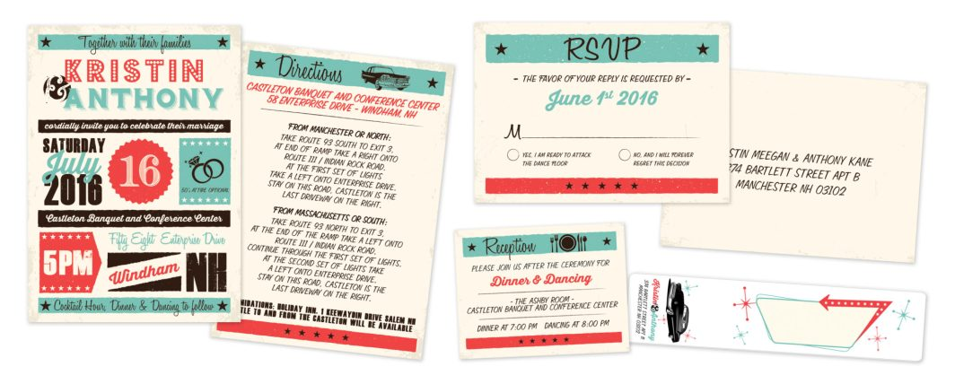 Retro Wedding Stationary Design