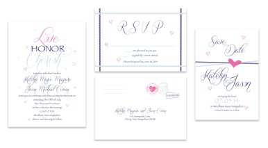 "4"" x 6"" Save the Dates, 5"" x 7"" Invitation, 6"" x 4"" RSVP Postcard"