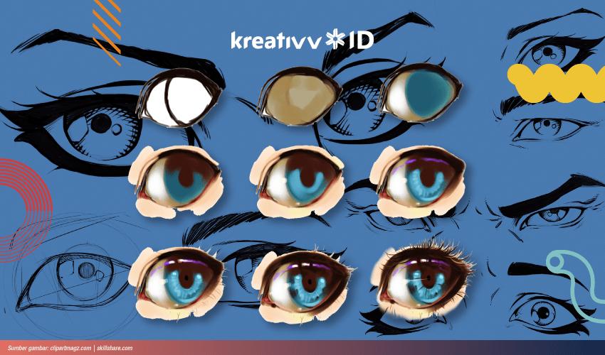 cara menggambar mata anime