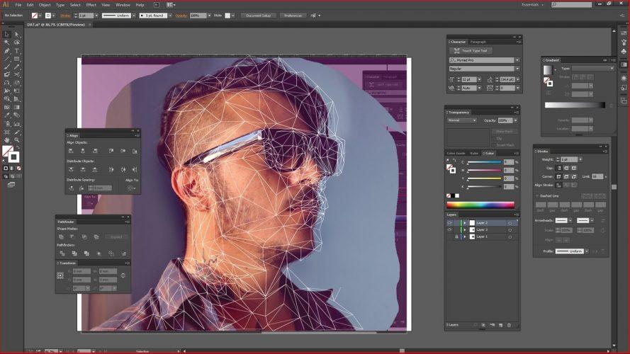 software low poly portrait