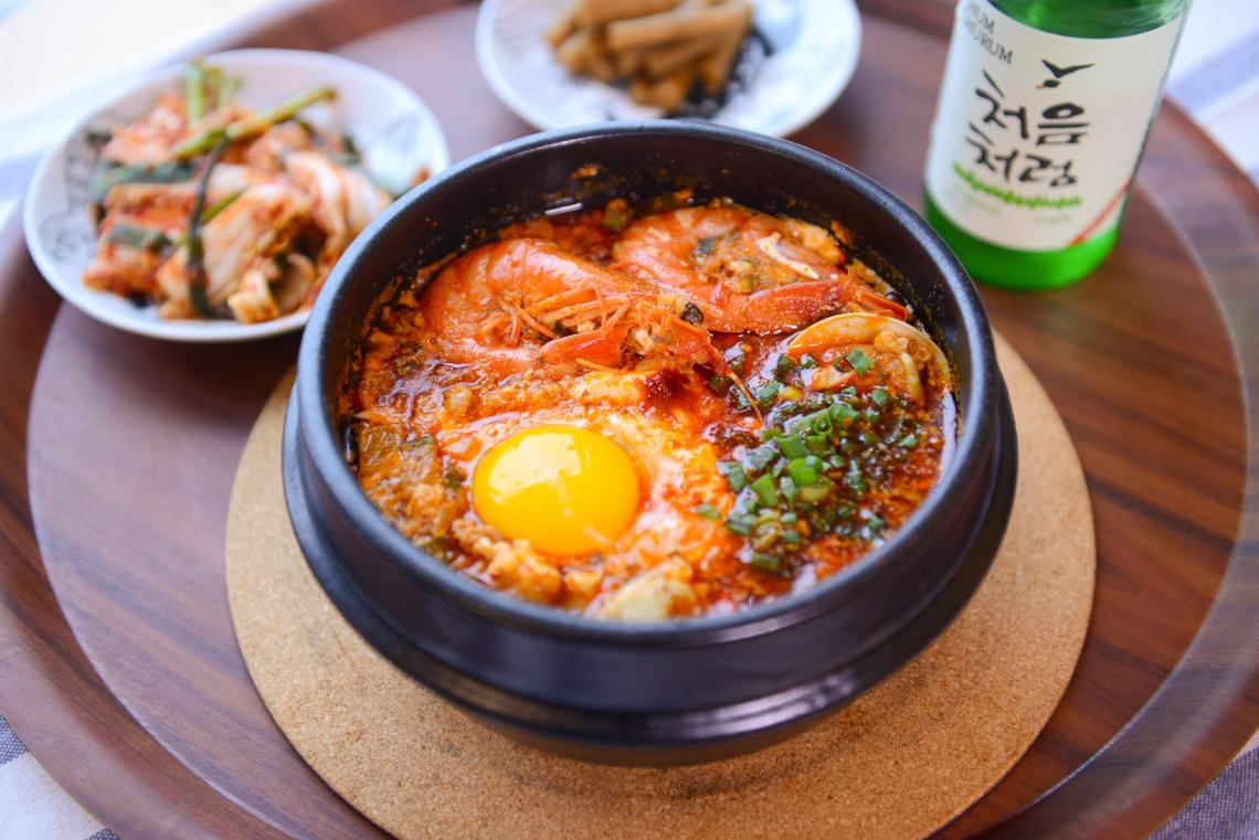 resep sup khas korea Sundubu Jjigae (Korean Spicy Soft Tofu Stew)
