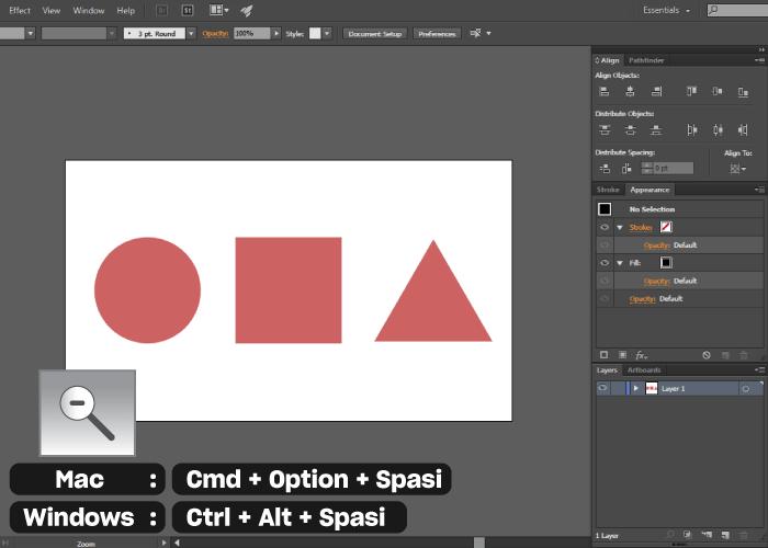 shortcut pada adobe illustrator