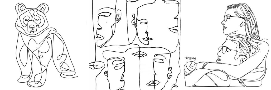 teknik one line drawing Mony