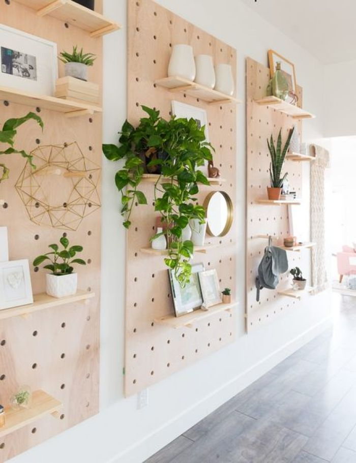 DIY rak Pegboard Shelves