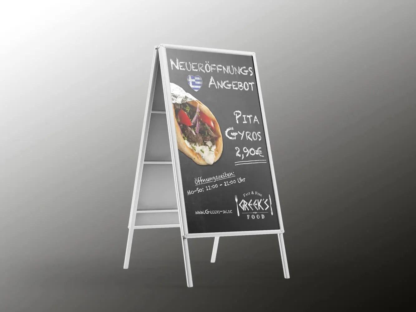 Plakat Aufsteller Greeks Angebote Schweinfurt Kreativwerk