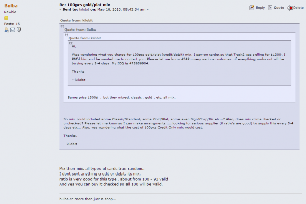 """A private mesasge between card merchant """"Bulba"""" and an interested buyer on the fraud bazaar carder[dot]pro."""