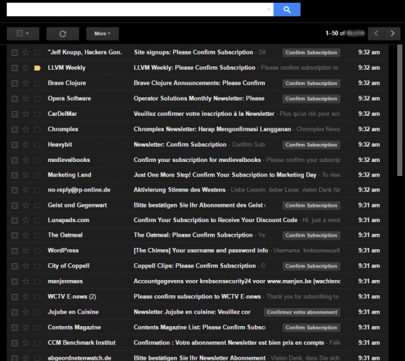 What my inbox looked like on Saturday, Aug. 13. Yours Truly and apparently at least 100 .gov email addresses got hit with an email bombing attack.