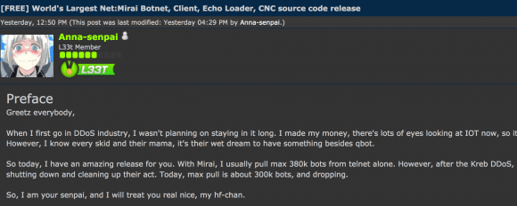 The Hackforums post that includes links to the Mirai source code.