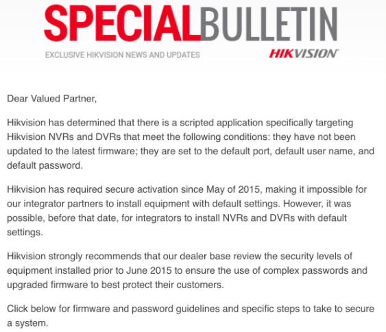 A special bulletin issued Mar. 2, 2017 by Hikvision. Image: IPVM