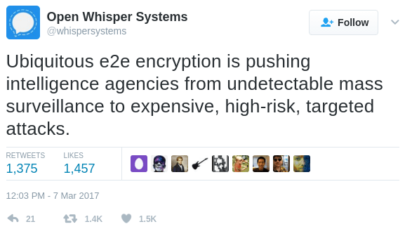 A tweet from Open Whisper Systems, the makers of the popular mobile privacy app Signal.