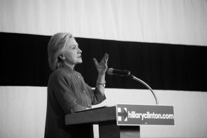 Des Moines, Iowa, USA - June 14, 2015: Democratic candidate for President Hillary Clinton speaks to a group of over 700 supporters at the Iowa State Fair Elwell Family Food center in Des Moines, Iowa on Sunday, June 14, 2015.