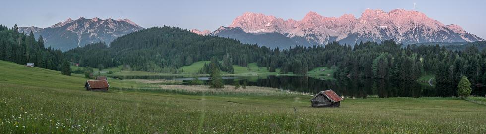 Midsummer fire, on bavarian Alps.