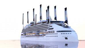 Kreuzfahrtschiff mit Segel und Solar Ecoship