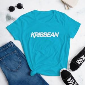 womens fashion fit t shirt caribbean blue front 605260a0141a8