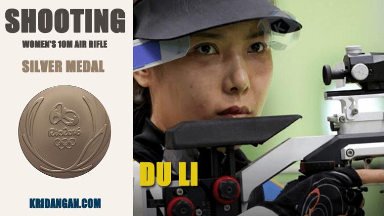 DU LI won Silver medal Women's 10m Air Rifle Medalist