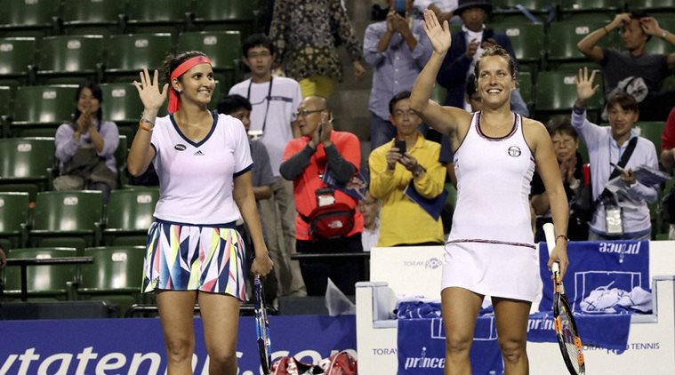 Sania Mirza with Czech Republic's Barbora Strycova