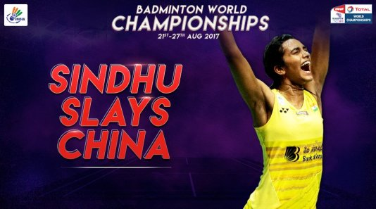 PV Sindhu has never lost a World Champioship match against Chinese players.