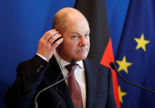 German Finance Minister and Vice Chancellor Olaf Scholz attends a news conference following his meeting with French Finance Minister Bruno Le Maire in Paris