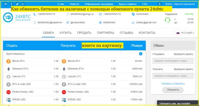 Как обменять биткоин на наличные с помощью обменного пункта 24xbtc.com