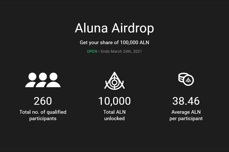 Aluna Social эйрдроп 100000 токенов ALN