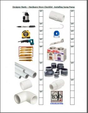 Submersible Sump Pump Install Shopping List