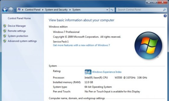 Windows 7 x64 Professional Computer Information Screenshot