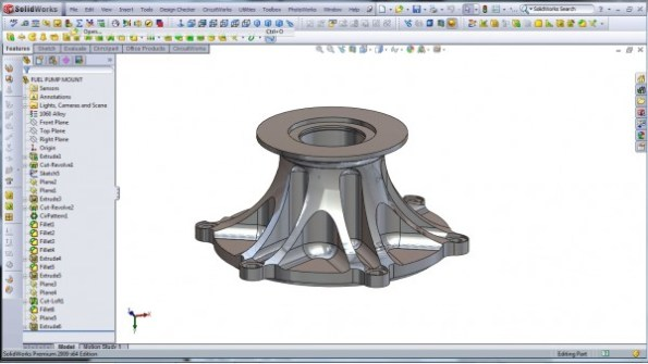 3D CAD Modeling - SolidWorks - High Performance Engine Part - Fuel Pump Mount - 0
